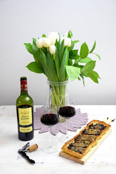 Tarte aux oignons pour un accord met/vin Baron de Lestac